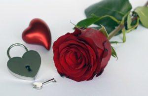 красная роза, замок с ключиком и сердечко. фото