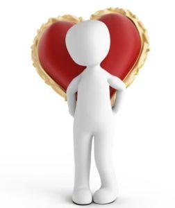 человек несет сердце