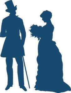 господин дарит даме цветы. рисунок