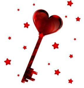ключ с головкой в виде сердца. рисунок
