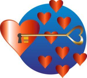 сердце с замком внутри и ключ от него. рисунок