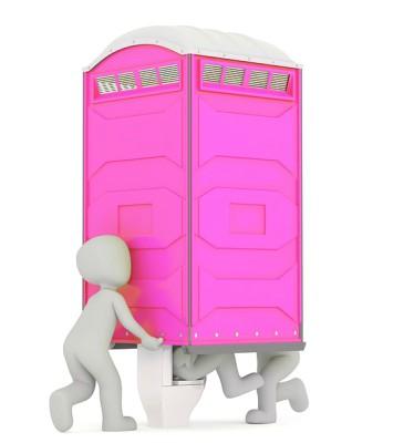 розовый туалет с посетителем. иллюстрация