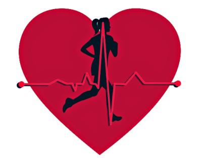 бегущий человек на фоне сердца. иллюстрация