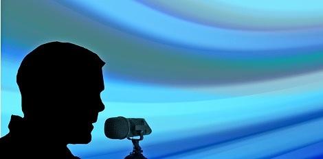 оратор с микрофоном. иллюстрация