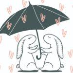 два зайца под одним зонтиком. иллюстрация