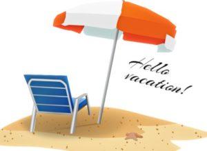 шезлонг и зонтик на песке. иллюстрация