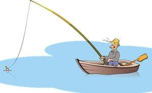 человек на озере удит рыбу. иллюстрация