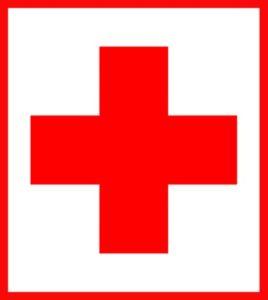 красный крест в красной рамке. иллюстрация
