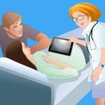 доктор и посетитель у кровати больного. иллюстрация