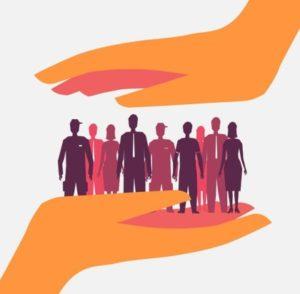 руки, держащие группу людей. иллюстрация