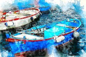 две лодки. иллюстрация