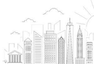 силуэты городских зданий. иллюстрация