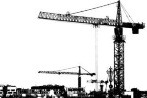 строительный кран на фоне построек. иллюстрация