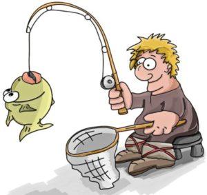 человек с удочкой и сачком для ловли рыбы. иллюстрация