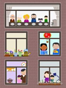 силуэты людей в окнах дома. иллюстрация