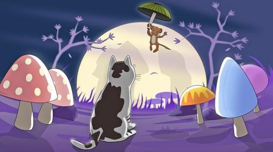 мышь, улетающая от кота на зонтике. иллюстрация