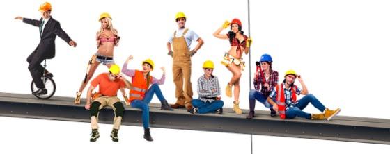 люди одетые в одежду строителей. иллюстрация