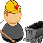 кирка, каска, тележка с углем. иллюстрация