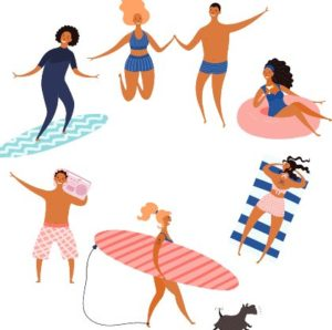 фигуры людей в пляжной одежде. иллюстрация