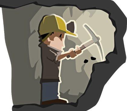 человек в каске и с киркой в подземелье. иллюстрация