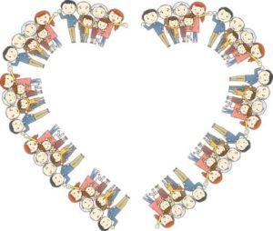 контуры сердца, состоящие из людей. иллюстрация