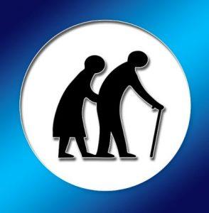 силуэт пары стариков. иллюстрация