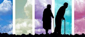силуэты престарелых людей. иллюстрация
