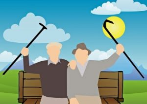 силуэты двух людей на скамейке. иллюстрация