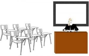 женщина за столом в школьном классе. иллюстрация