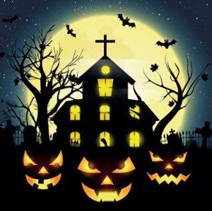 """ночь, старый дом, луна и """"фонаря Джека"""". иллюстрация"""