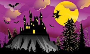 Замок на горе, летящая на метле ведьма на фоне луны. иллюстрация