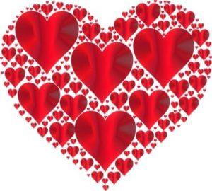 большие и маленькие сердца. иллюстрация