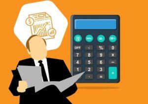 человек с бумагами и калькулятором. иллюстрация