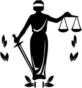 черно-белый силуэт Фемиды. иллюстрация