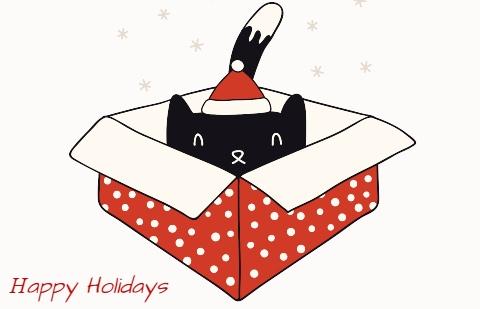 голова кота в подарочной коробке. иллюстрация