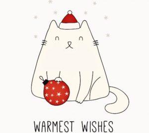 кот в новогоднем наряде. иллюстрация