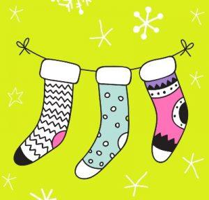 новогодние чулки для подарков. иллюстрация