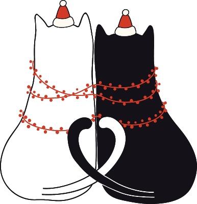 нарядная пара котиков. иллюстрация