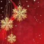 золотые снежинки и звездочки на красном фоне. иллюстрация