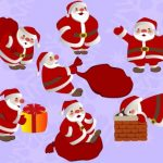 множество Санта Клаусов (дедов Морозов) с мешками. иллюстрация