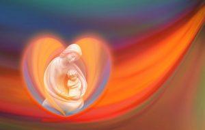 сердце, в центре которого - дева Мария с младенцем Иисусом. иллюстрация