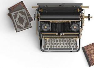 пишущая машинка и книги. иллюстрация