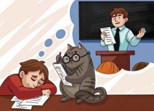 кот читает подростку. иллюстрация