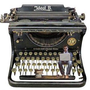 пишущая машинка, старинная и человек. иллюстрация
