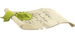 расправленный рулон свиток бумаги с медалью. иллюстрация