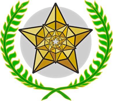 """""""золотая звезда окруженная ветками. иллюстрация"""