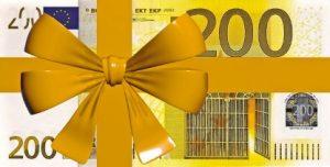 банкнота номиналом 200 евро с лентой. иллюстрация