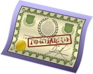 Лист бумаги стилизованный под наградной сертификат. иллюстрация