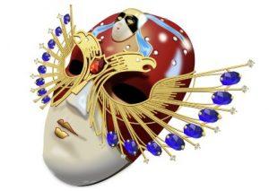 Разноцветная накладная маска на лицо. иллюстрация