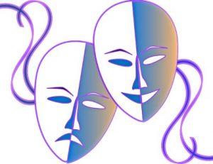 2 маски и с лентами. иллюстрация